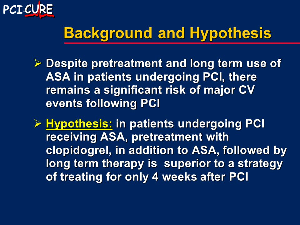 PCI - Background and Hypothesis  Despite pretreatment and long term use of ASA in patients undergoing PCI, there remains a significant risk of major CV events following PCI  Hypothesis: in patients undergoing PCI receiving ASA, pretreatment with clopidogrel, in addition to ASA, followed by long term therapy is superior to a strategy of treating for only 4 weeks after PCI