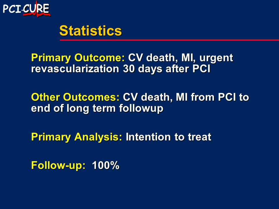 PCI -Statistics Primary Outcome: CV death, MI, urgent revascularization 30 days after PCI Other Outcomes: CV death, MI from PCI to end of long term followup Primary Analysis: Intention to treat Follow-up: 100%