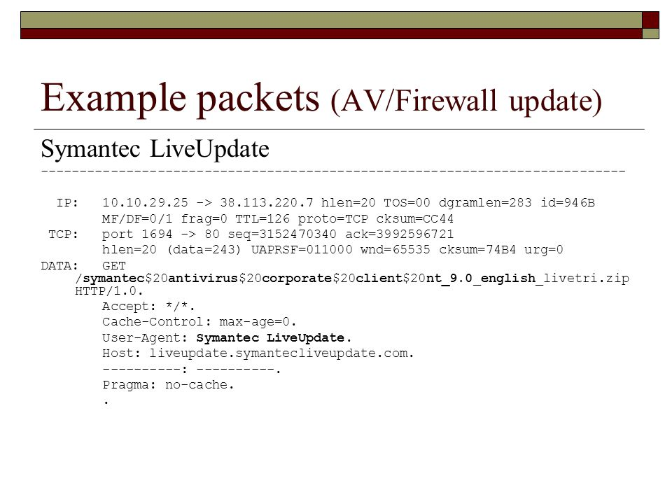 Example packets (AV/Firewall update) Symantec LiveUpdate --------------------------------------------------------------------------- IP: 10.10.29.25 -