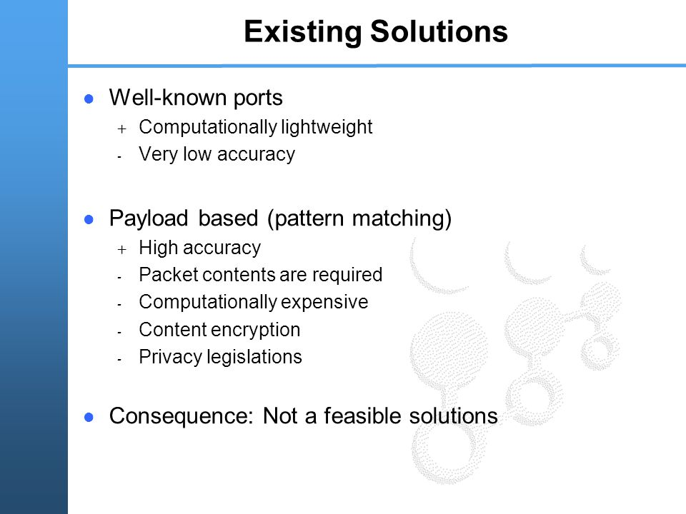 Existing Solutions Well-known ports + Computationally lightweight - Very low accuracy Payload based (pattern matching) + High accuracy - Packet contents are required - Computationally expensive - Content encryption - Privacy legislations Consequence: Not a feasible solutions