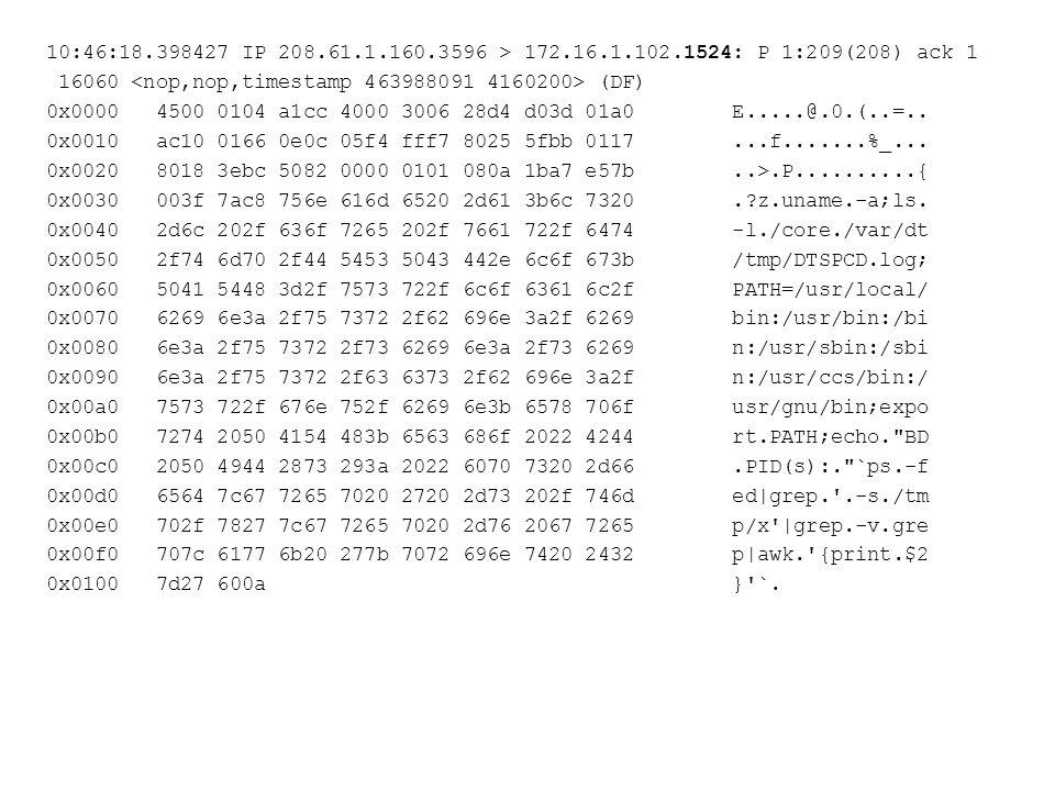 10:46:18.398427 IP 208.61.1.160.3596 > 172.16.1.102.1524: P 1:209(208) ack 1 16060 (DF) 0x0000 4500 0104 a1cc 4000 3006 28d4 d03d 01a0 E.....@.0.(..=..