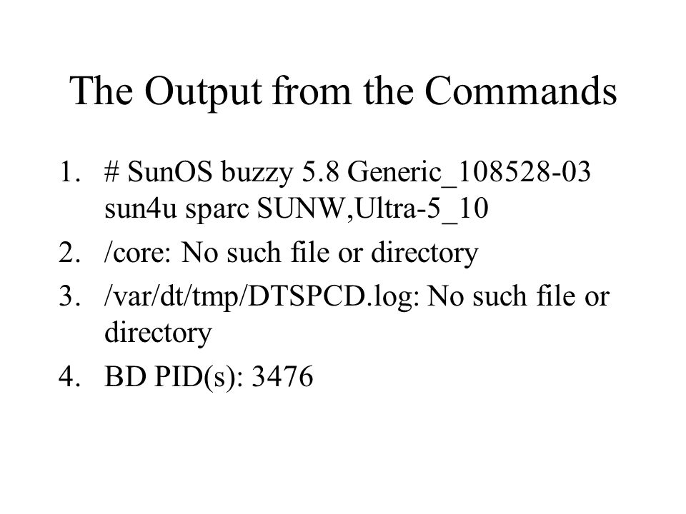The Output from the Commands 1.# SunOS buzzy 5.8 Generic_108528-03 sun4u sparc SUNW,Ultra-5_10 2./core: No such file or directory 3./var/dt/tmp/DTSPCD