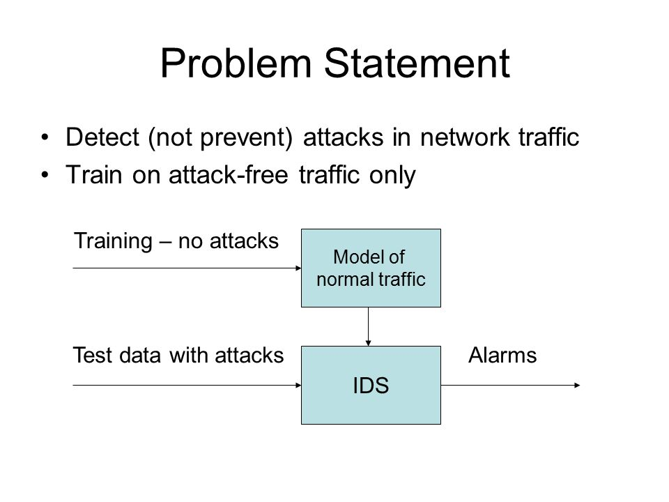 Approach Model client protocols via inbound traffic –9 protocols: IP, TCP, HTTP, SMTP … –Beginning of request only (~ 2% of traffic) Test each packet independently Unusual bytes = hostile (sometimes) –Values seen but not often or recently –Values never seen in training (higher score)