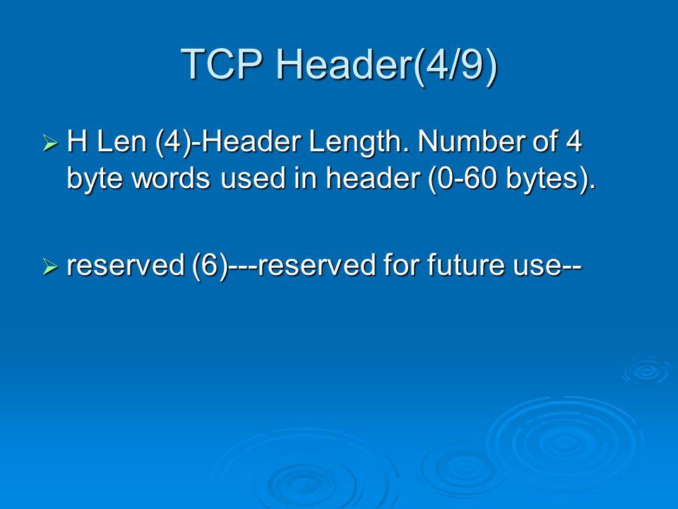 TCP Header(4/9)  H Len (4)-Header Length. Number of 4 byte words used in header (0-60 bytes).