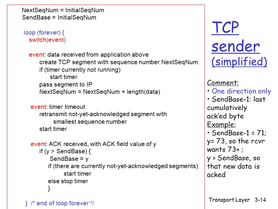 Transport Layer 3-14 TCP sender (simplified) NextSeqNum = InitialSeqNum SendBase = InitialSeqNum loop (forever) { switch(event) event: data received from application above create TCP segment with sequence number NextSeqNum if (timer currently not running) start timer pass segment to IP NextSeqNum = NextSeqNum + length(data) event: timer timeout retransmit not-yet-acknowledged segment with smallest sequence number start timer event: ACK received, with ACK field value of y if (y > SendBase) { SendBase = y if (there are currently not-yet-acknowledged segments) start timer else stop timer } } /* end of loop forever */ Comment: One direction only SendBase-1: last cumulatively ack'ed byte Example: SendBase-1 = 71; y= 73, so the rcvr wants 73+ ; y > SendBase, so that new data is acked