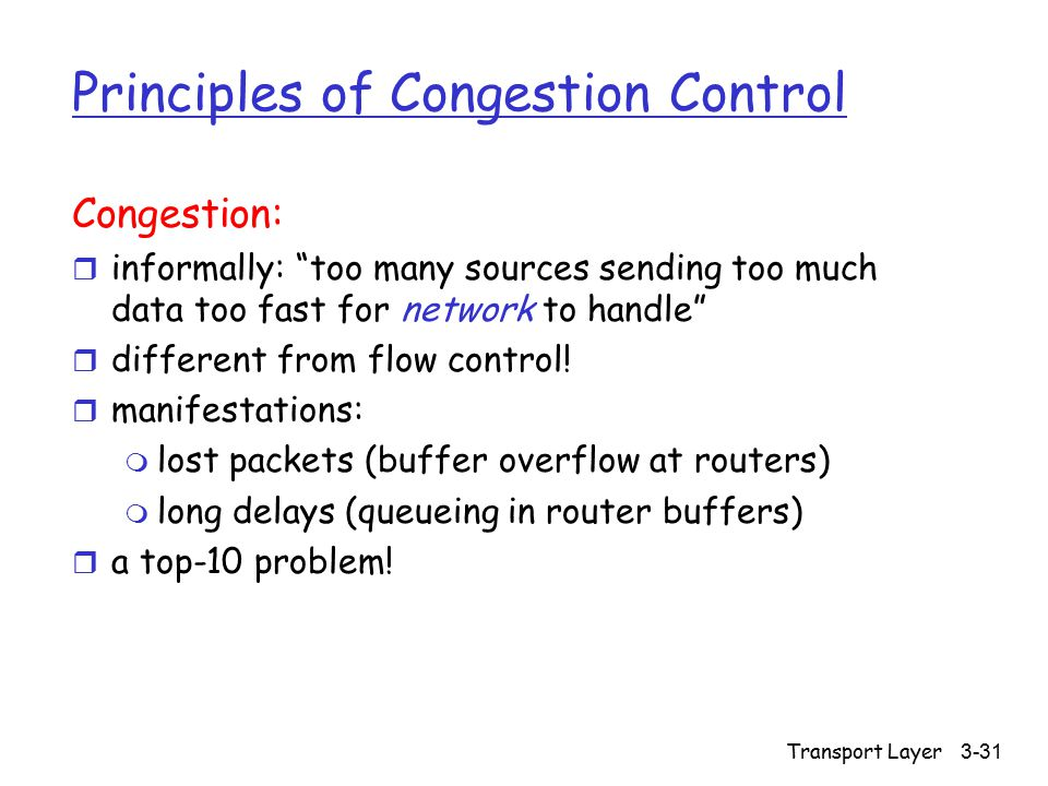 Transport Layer 3-31 Principles of Congestion Control Congestion: r informally: too many sources sending too much data too fast for network to handle r different from flow control.