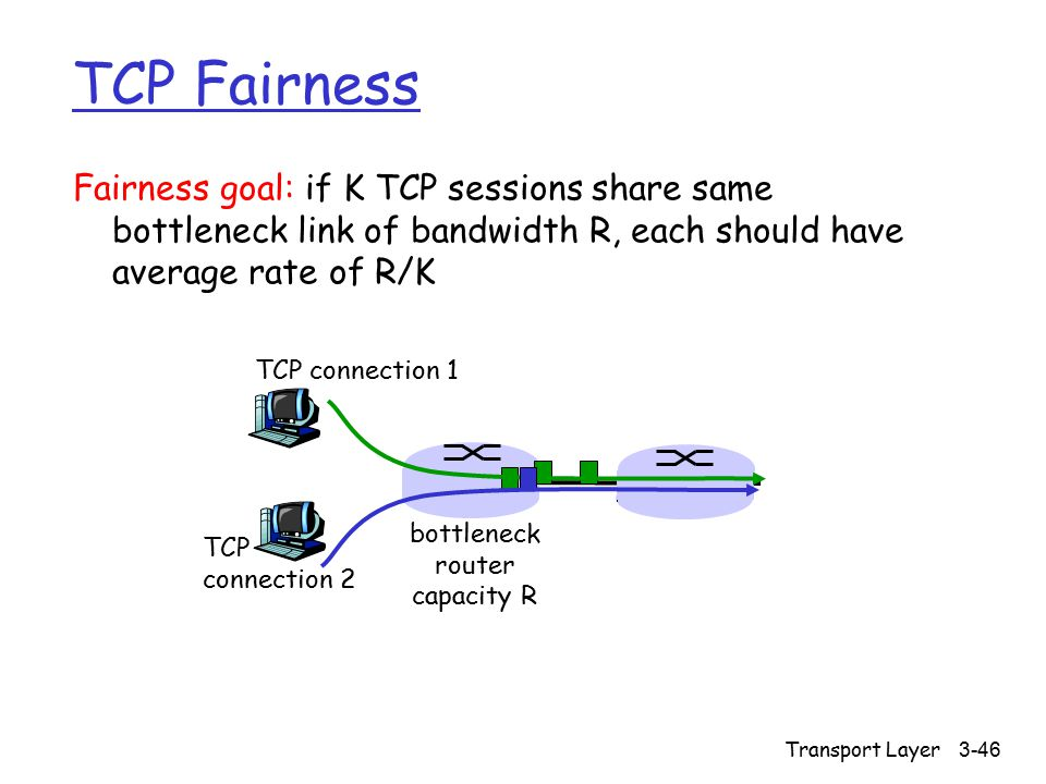 Transport Layer 3-46 Fairness goal: if K TCP sessions share same bottleneck link of bandwidth R, each should have average rate of R/K TCP connection 1 bottleneck router capacity R TCP connection 2 TCP Fairness