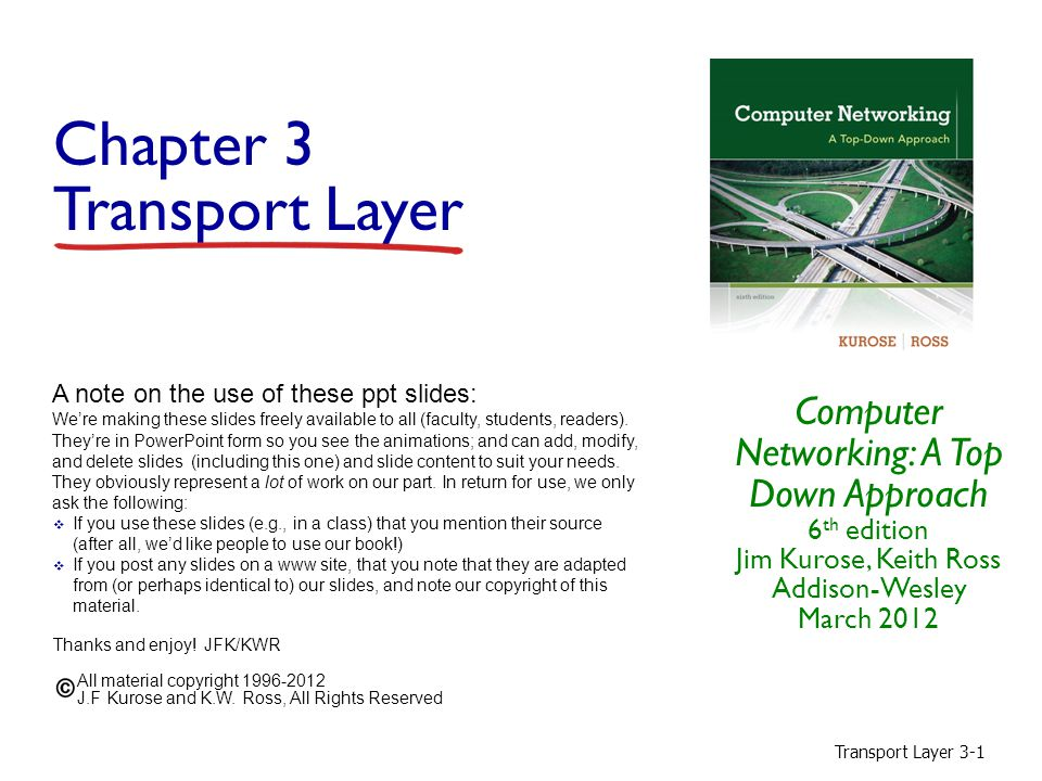 Transport Layer 3-1 Chapter 3 Transport Layer Computer Networking: A Top Down Approach 6 th edition Jim Kurose, Keith Ross Addison-Wesley March 2012 A