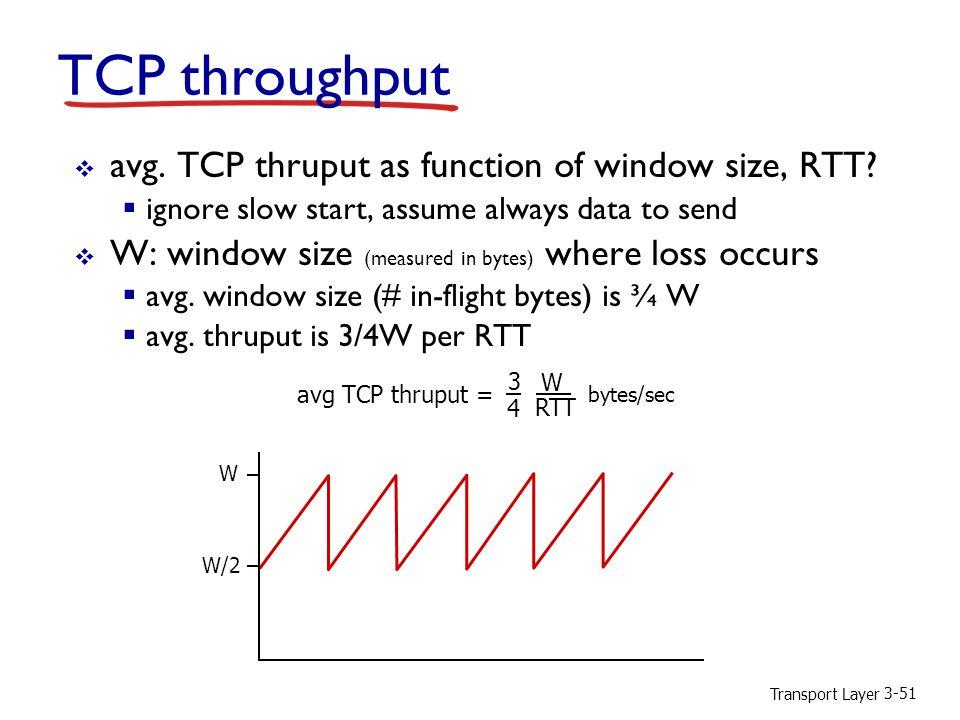 Transport Layer 3-51 TCP throughput  avg. TCP thruput as function of window size, RTT.
