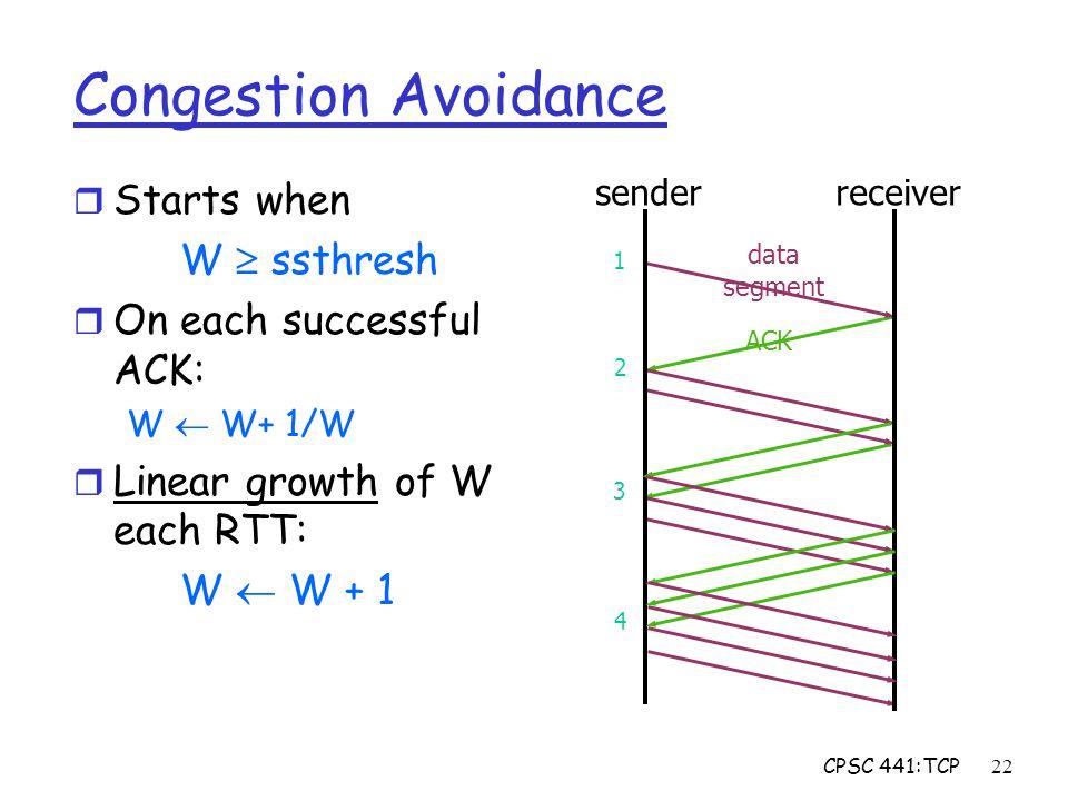 CPSC 441:TCP22 ACK data segment Congestion Avoidance r Starts when W  ssthresh r On each successful ACK: W  W+ 1/W r Linear growth of W each RTT: W