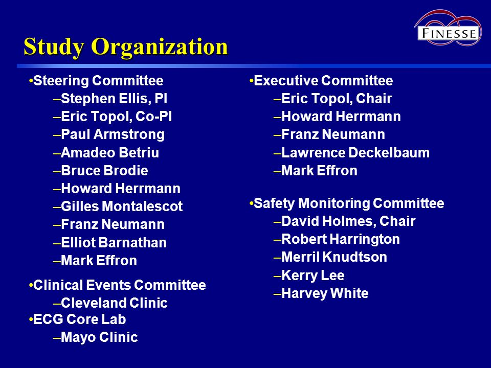 Study Organization Steering Committee –Stephen Ellis, PI –Eric Topol, Co-PI –Paul Armstrong –Amadeo Betriu –Bruce Brodie –Howard Herrmann –Gilles Montalescot –Franz Neumann –Elliot Barnathan –Mark Effron Clinical Events Committee –Cleveland Clinic ECG Core Lab –Mayo Clinic Executive Committee –Eric Topol, Chair –Howard Herrmann –Franz Neumann –Lawrence Deckelbaum –Mark Effron Safety Monitoring Committee –David Holmes, Chair –Robert Harrington –Merril Knudtson –Kerry Lee –Harvey White