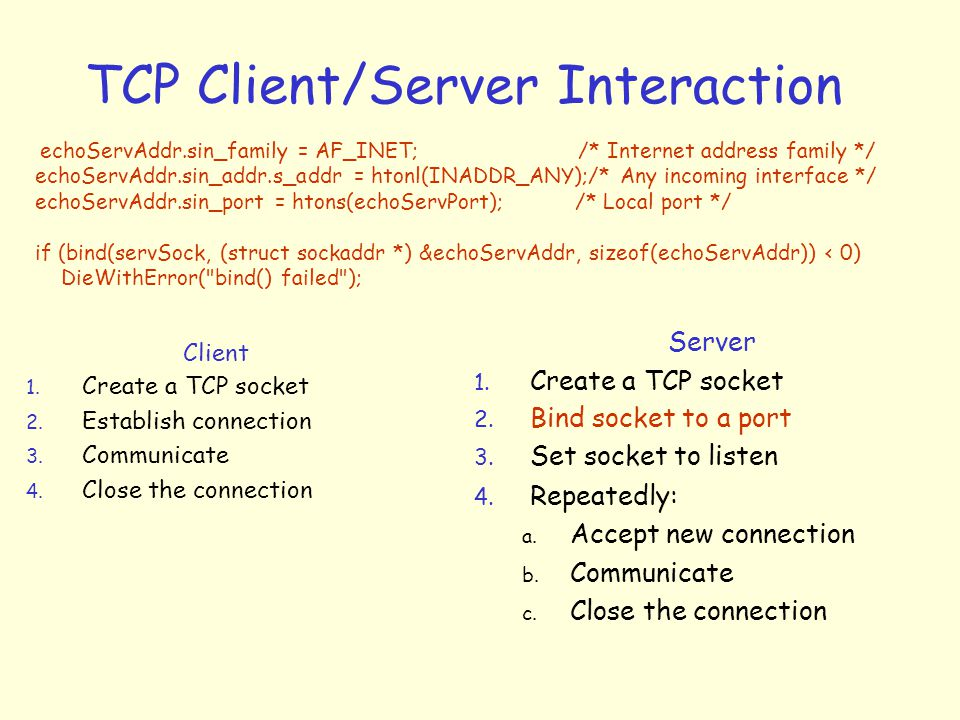 TCP Client/Server Interaction Client 1. Create a TCP socket 2.