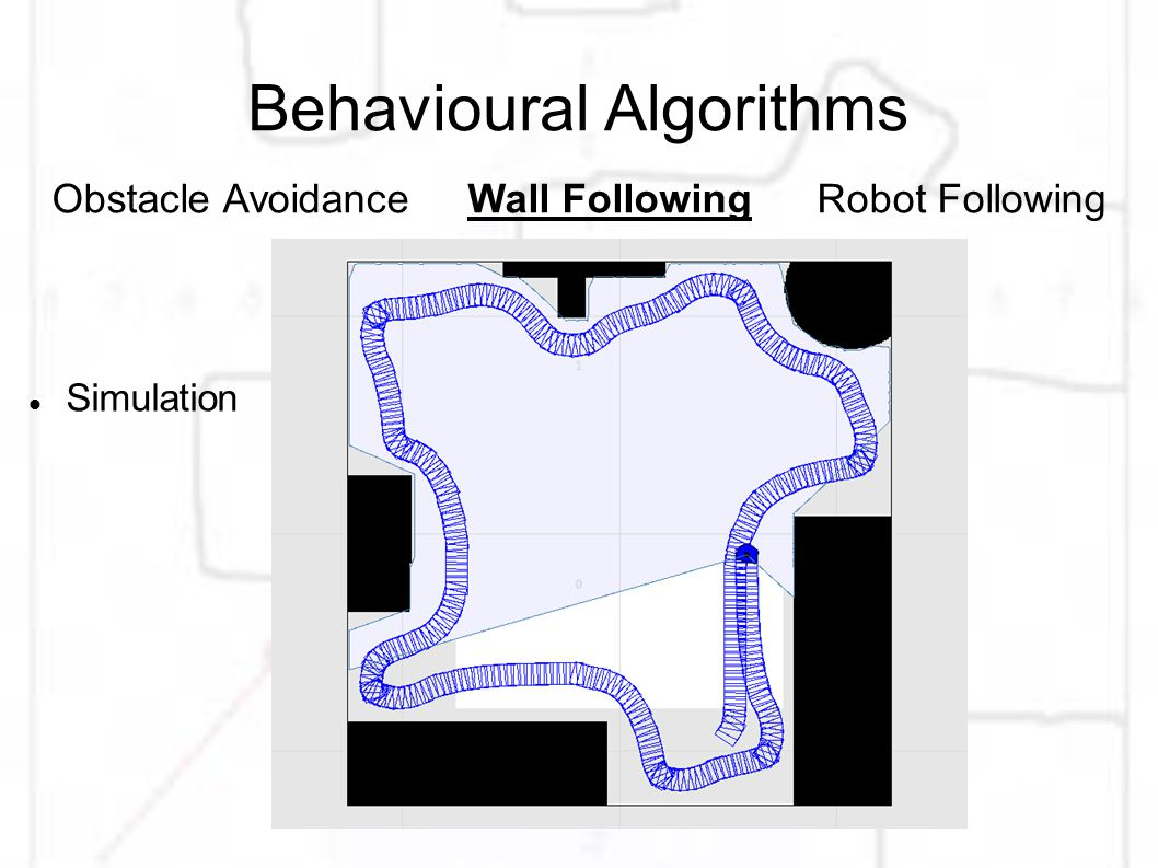 Behavioural Algorithms Simulation Obstacle AvoidanceWall FollowingRobot Following