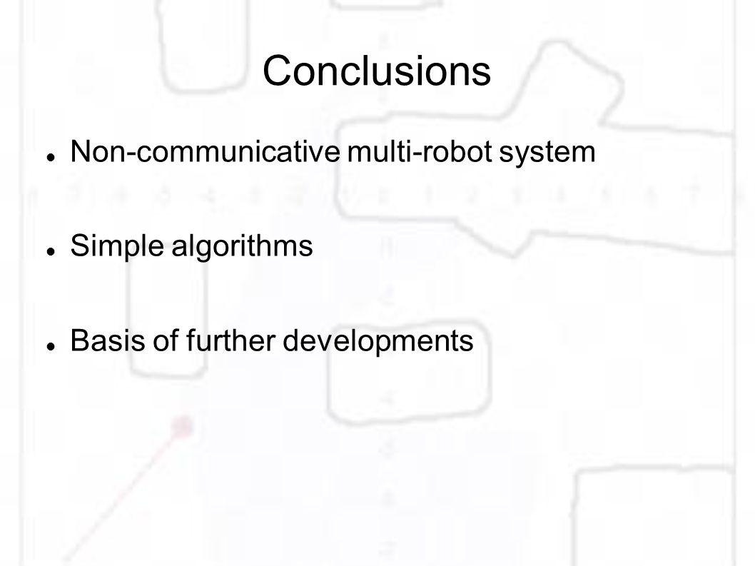 Conclusions Non-communicative multi-robot system Simple algorithms Basis of further developments