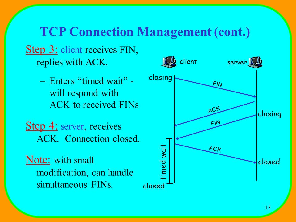 15 TCP Connection Management (cont.) Step 3: client receives FIN, replies with ACK.