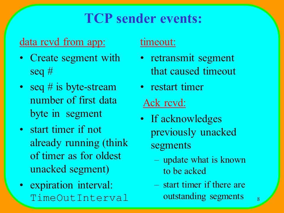 9 TCP: retransmission scenarios Host A Seq=100, 20 bytes data ACK=100 time premature timeout Host B Seq=92, 8 bytes data ACK=120 Seq=92, 8 bytes data Seq=92 timeout ACK=120 Host A Seq=92, 8 bytes data ACK=100 loss timeout lost ACK scenario Host B X Seq=92, 8 bytes data ACK=100 time Seq=92 timeout
