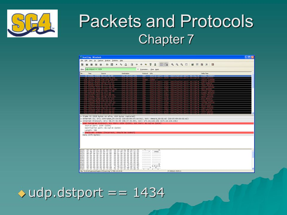 Packets and Protocols Chapter 7  udp.dstport == 1434
