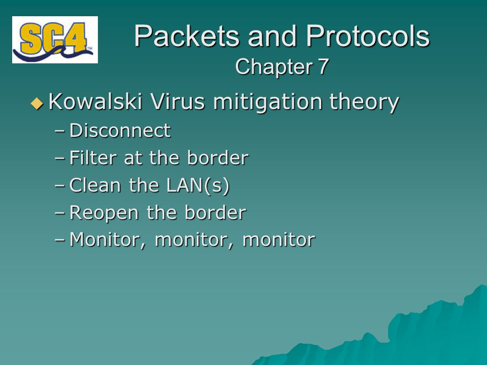 Packets and Protocols Chapter 7  Kowalski Virus mitigation theory –Disconnect –Filter at the border –Clean the LAN(s) –Reopen the border –Monitor, monitor, monitor
