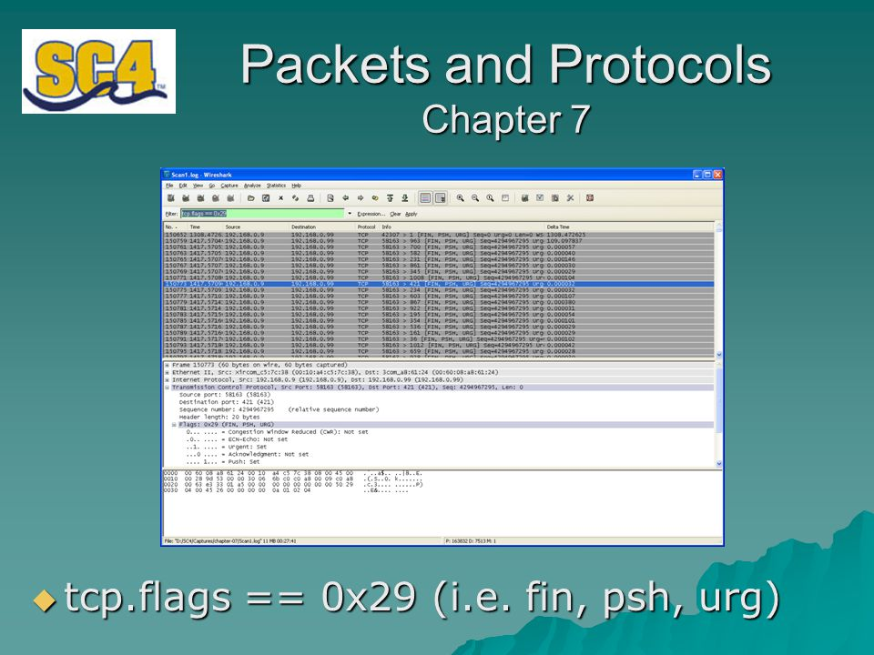 Packets and Protocols Chapter 7  tcp.flags == 0x29 (i.e. fin, psh, urg)