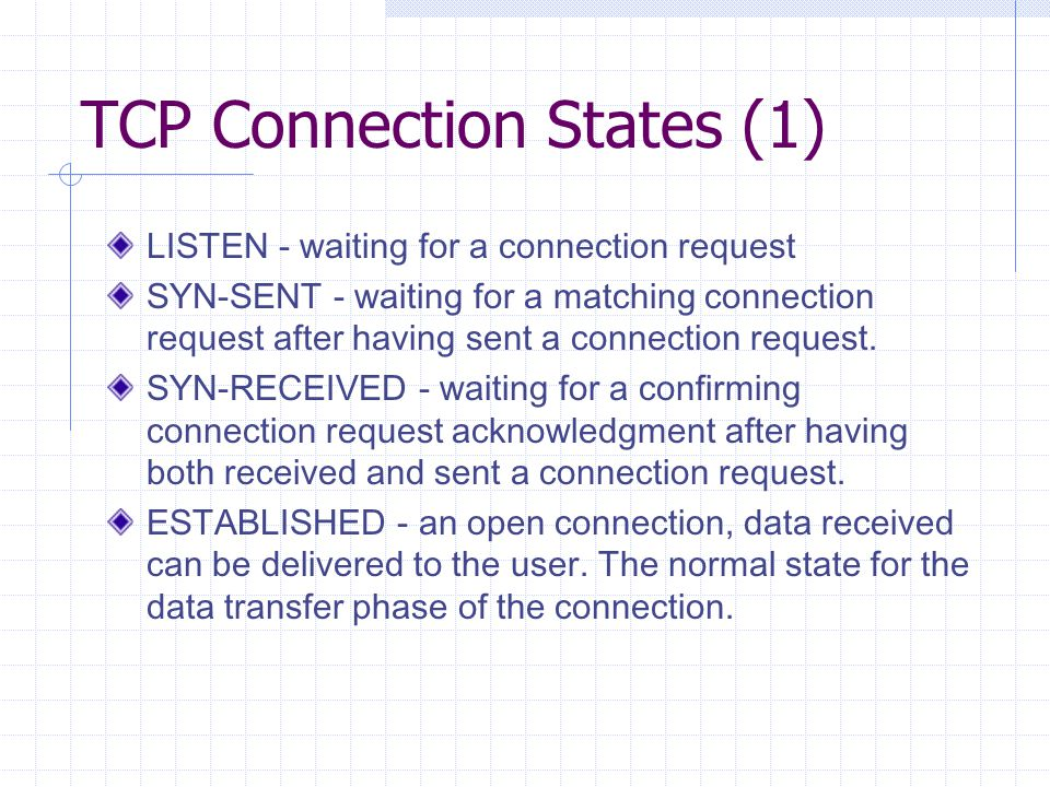 TCP Connection States (1) LISTEN - waiting for a connection request SYN-SENT - waiting for a matching connection request after having sent a connectio