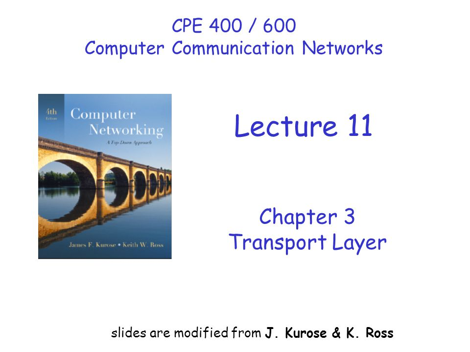 Chapter 3 Transport Layer slides are modified from J.