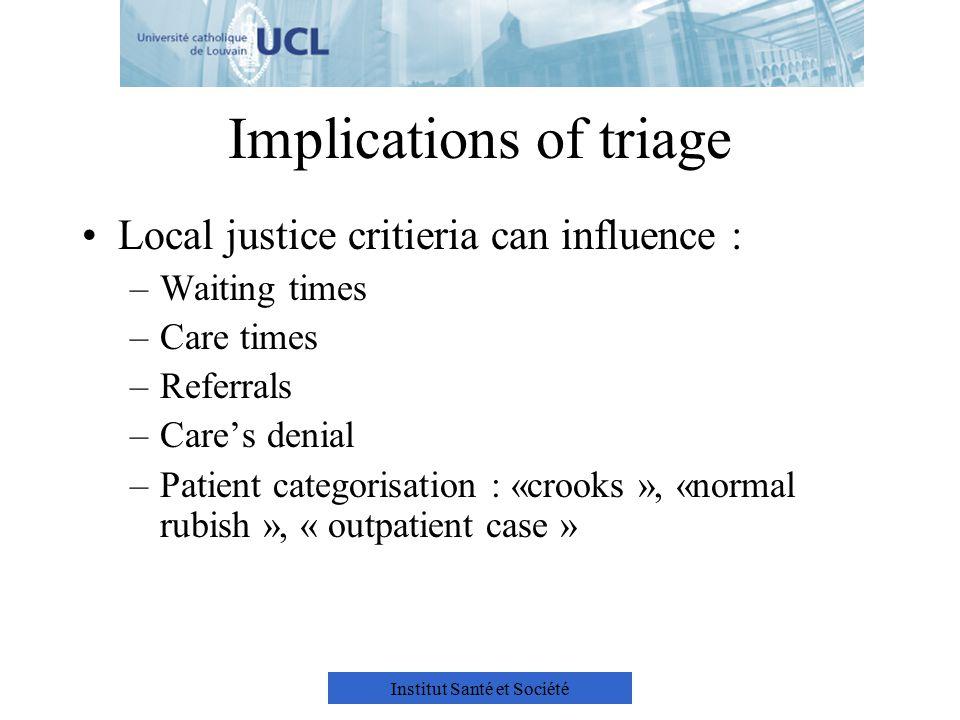 Institut Santé et Société Implications of triage Local justice critieria can influence : –Waiting times –Care times –Referrals –Care's denial –Patient categorisation : «crooks », «normal rubish », « outpatient case »