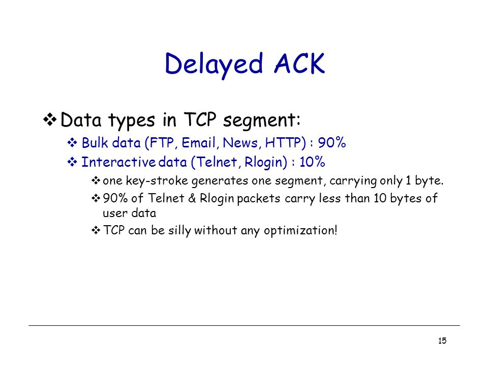 15 Delayed ACK  Data types in TCP segment:  Bulk data (FTP, Email, News, HTTP) : 90%  Interactive data (Telnet, Rlogin) : 10%  one key-stroke generates one segment, carrying only 1 byte.