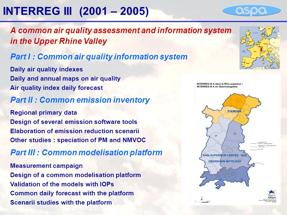 INTERREG III (2001 – 2005) Part I : Common air quality information system Part II : Common emission inventory Part III : Common modelisation platform Daily air quality indexes Daily and annual maps on air quality Air quality index daily forecast Regional primary data Design of several emission software tools Elaboration of emission reduction scenarii Other studies : speciation of PM and NMVOC Measurement campaign Design of a common modelisation platform Validation of the models with IOPs Common daily forecast with the platform Scenarii studies with the platform A common air quality assessment and information system in the Upper Rhine Valley