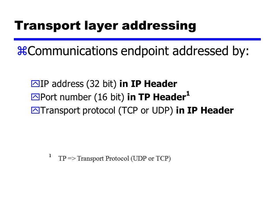 UDP: User Datagram Protocol [RFC 768] z no frills, bare bones Internet transport protocol z best effort service, UDP segments may be: ylost ydelivered out of order to app zconnectionless: yno handshaking between UDP sender, receiver yeach UDP segment handled independently of others Why is there a UDP.