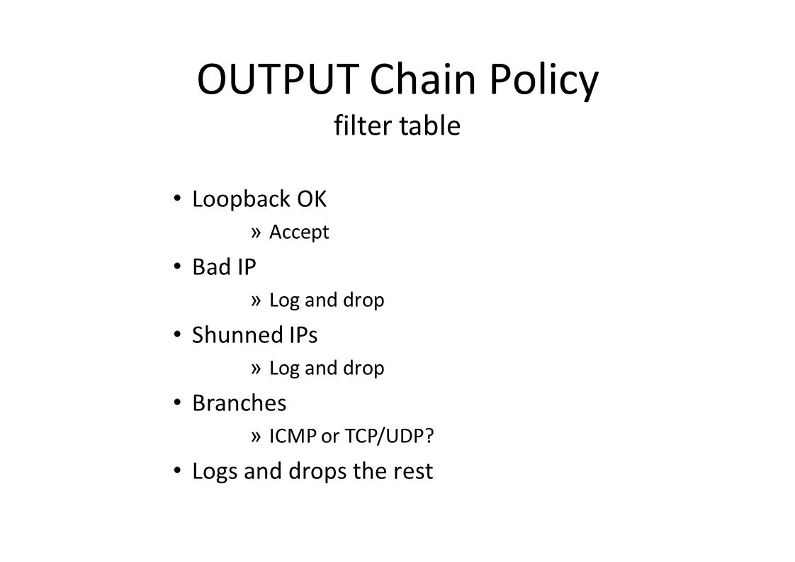 OUTPUT Chain Policy filter table Loopback OK » Accept Bad IP » Log and drop Shunned IPs » Log and drop Branches » ICMP or TCP/UDP.