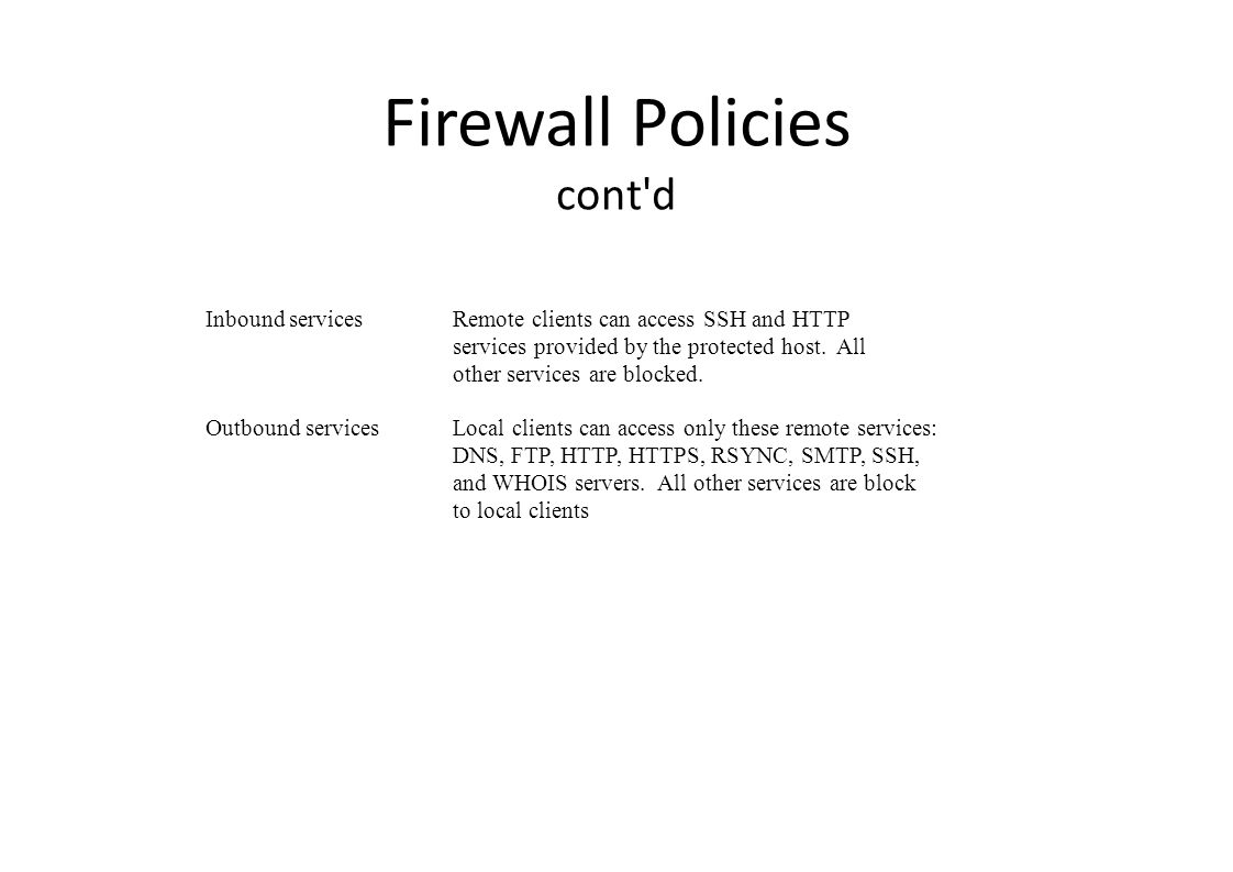 FLOOD The firewall will block SYNs when their rate of arrival exceeds a specified threshold.