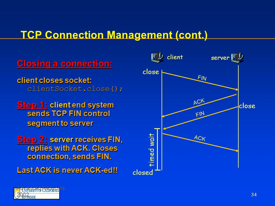 Advanced Networks 2002 33 TCP Set-up Three way handshake: Step 1: client end system sends TCP SYN control segment to server specifies initial seq #specifies initial seq # Step 2: server end system receives SYN, replies with SYNACK control segment ACKs received SYNACKs received SYN allocates buffersallocates buffers specifies server-> receiver initial seq.