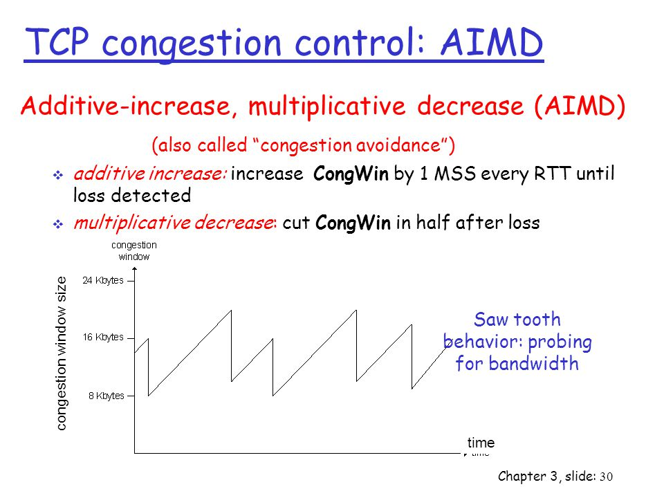 Chapter 3, slide: 30 Additive-increase, multiplicative decrease (AIMD) (also called congestion avoidance )  additive increase: increase CongWin by 1 MSS every RTT until loss detected  multiplicative decrease: cut CongWin in half after loss time congestion window size Saw tooth behavior: probing for bandwidth TCP congestion control: AIMD
