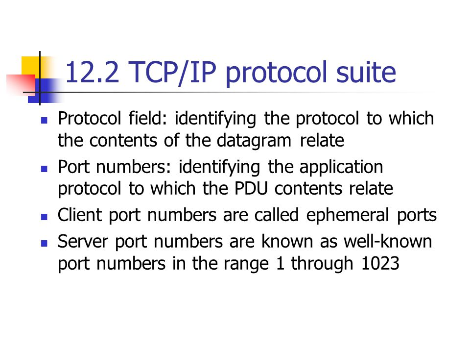 12.3 TCP Reliable stream service:Each byte in the stream flowing in each direction is free of transmission errors and in the same sequence Each TCP entity divides the stream of bytes into blocks known as segments Maximum segment size(MSS) The default MSS is 536 bytes The TCP protocol includes a flow control procedure to ensure no data is lost