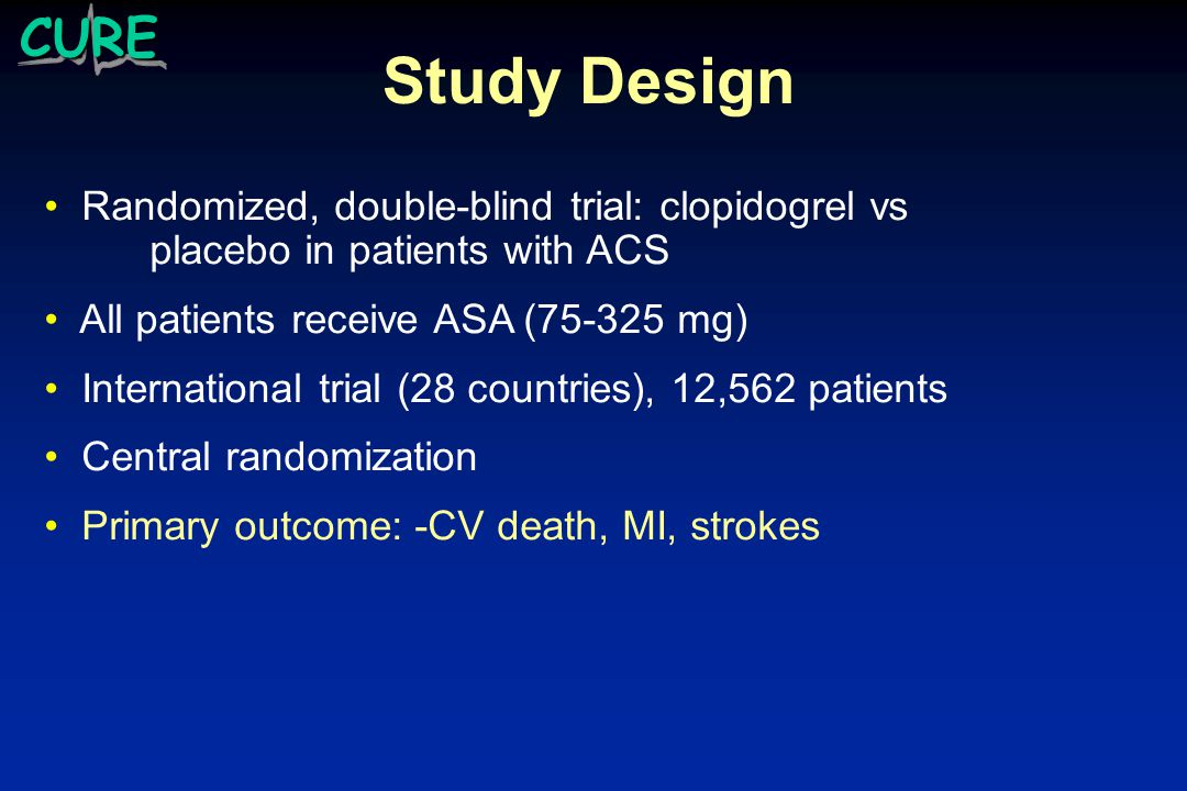 CURE Study 3 months > double-blind treatment < 12 months Aspirin 75-325mg Clopidogrel 75mg o.d.
