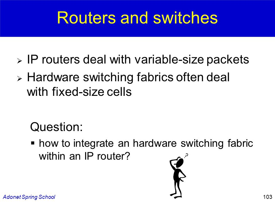 Adonet Spring School103 Routers and switches  IP routers deal with variable-size packets  Hardware switching fabrics often deal with fixed-size cells Question:  how to integrate an hardware switching fabric within an IP router