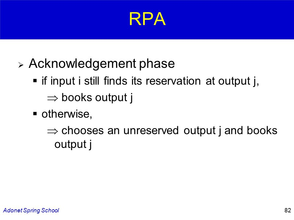 Adonet Spring School82 RPA  Acknowledgement phase  if input i still finds its reservation at output j,  books output j  otherwise,  chooses an unreserved output j and books output j