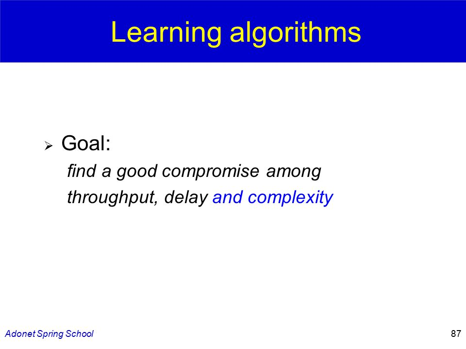 Adonet Spring School87 Learning algorithms  Goal: find a good compromise among throughput, delay and complexity