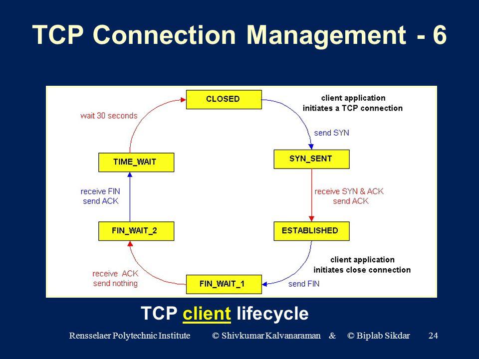 Rensselaer Polytechnic Institute © Shivkumar Kalvanaraman & © Biplab Sikdar24 TCP client lifecycle TCP Connection Management - 6