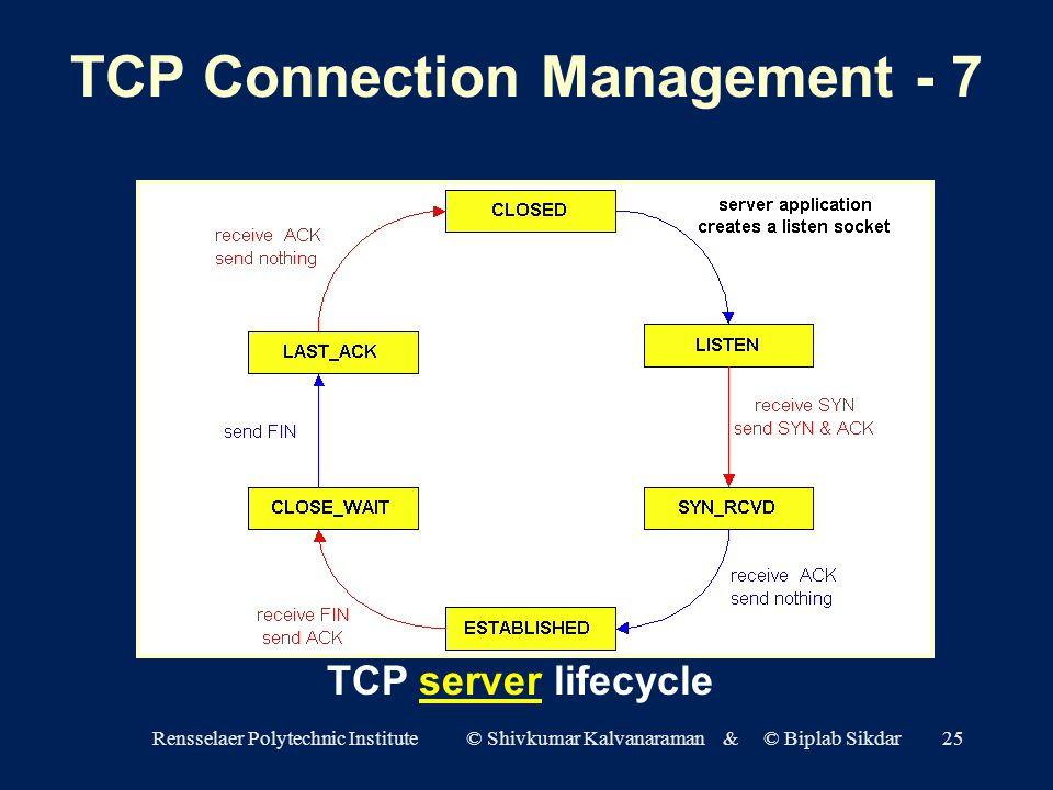 Rensselaer Polytechnic Institute © Shivkumar Kalvanaraman & © Biplab Sikdar25 TCP server lifecycle TCP Connection Management - 7