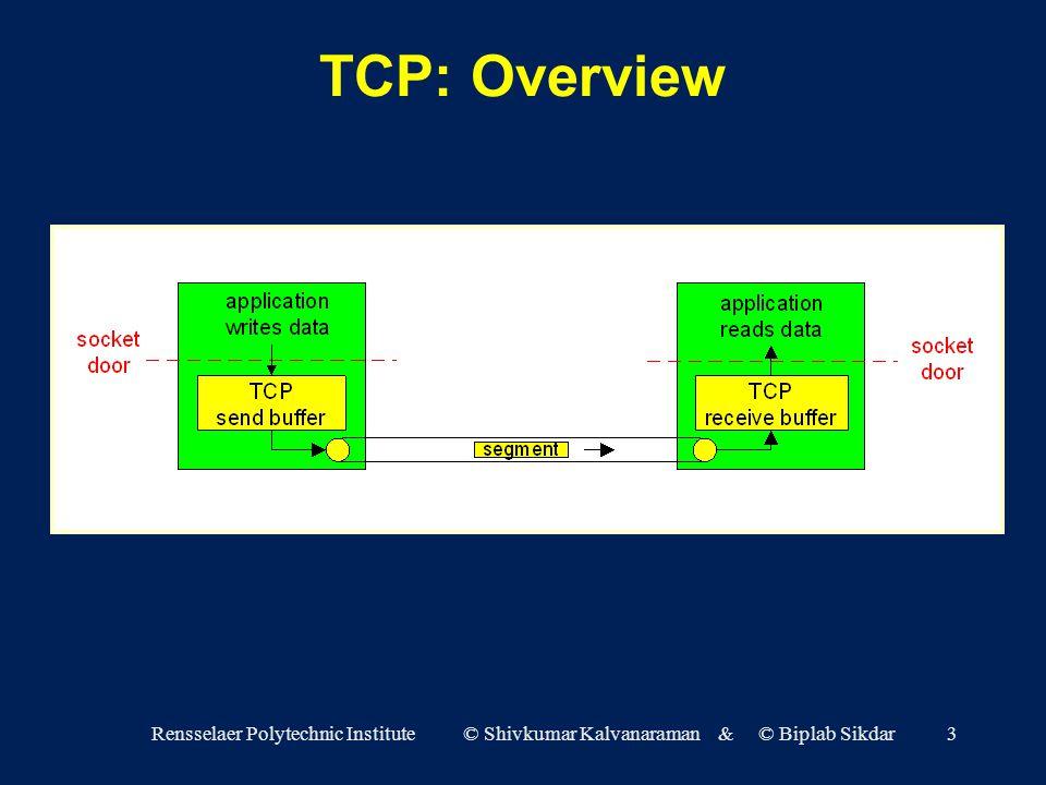 Rensselaer Polytechnic Institute © Shivkumar Kalvanaraman & © Biplab Sikdar3 TCP: Overview