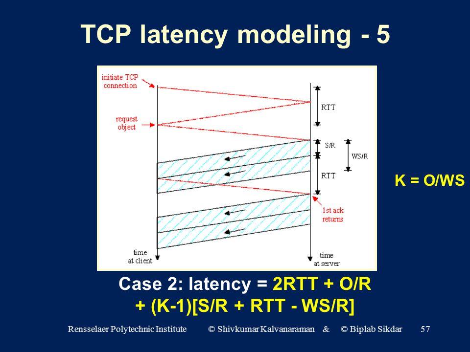 Rensselaer Polytechnic Institute © Shivkumar Kalvanaraman & © Biplab Sikdar57 TCP latency modeling - 5 Case 2: latency = 2RTT + O/R + (K-1)[S/R + RTT - WS/R] K = O/WS