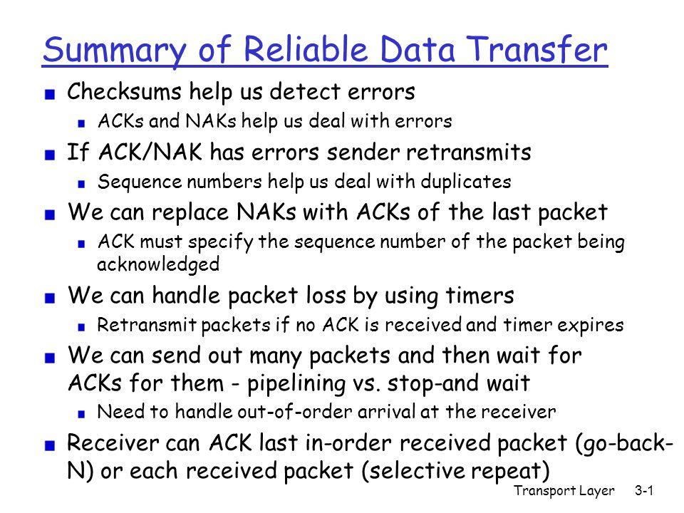 Transport Layer3-12 TCP: Retransmission Scenarios Host A Seq=100, 20 bytes data ACK=100 time premature timeout Host B Seq=92, 8 bytes data ACK=120 Seq=92, 8 bytes data Seq=92 timeout ACK=120 Host A Seq=92, 8 bytes data ACK=100 loss timeout lost ACK scenario Host B X Seq=92, 8 bytes data ACK=100 time Seq=92 timeout SendBase = 100 SendBase = 120 SendBase = 120 Sendbase = 100