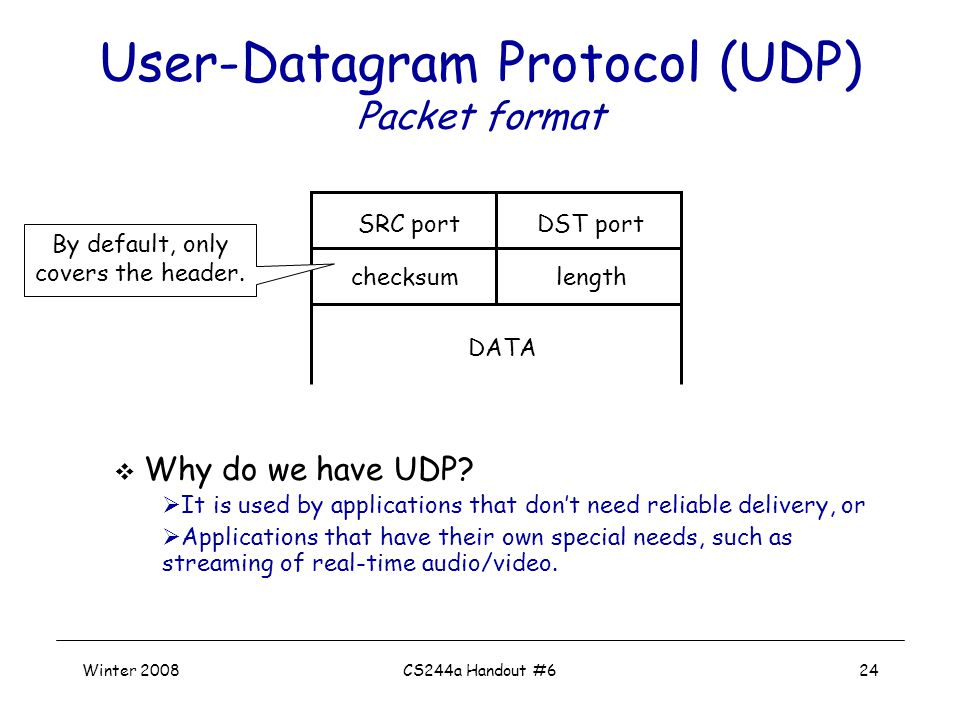 Winter 2008CS244a Handout #624 SRC port DST port checksumlength DATA User-Datagram Protocol (UDP) Packet format  Why do we have UDP.