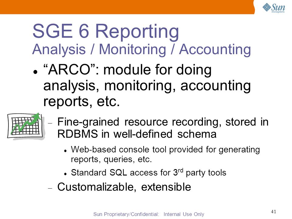Sun Proprietary/Confidential: Internal Use Only 41 SGE 6 Reporting Analysis / Monitoring / Accounting ARCO : module for doing analysis, monitoring, accounting reports, etc.