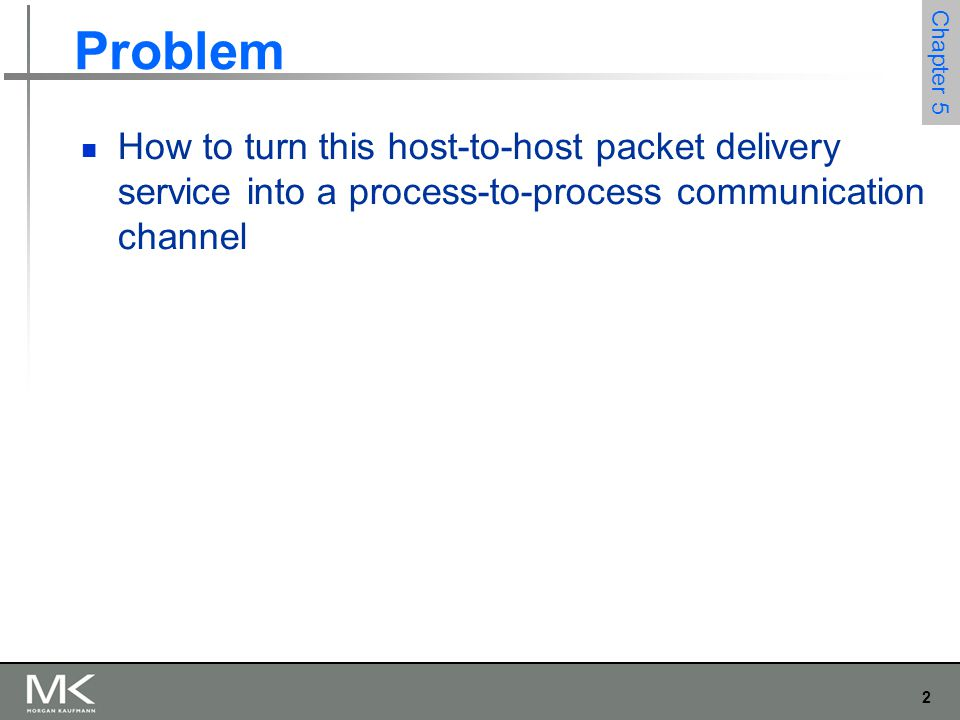 2 Chapter 5 Problem How to turn this host-to-host packet delivery service into a process-to-process communication channel