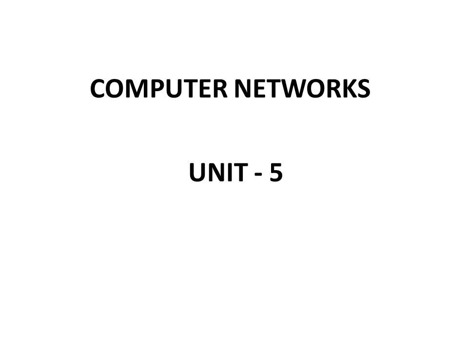 COMPUTER NETWORKS UNIT - 5