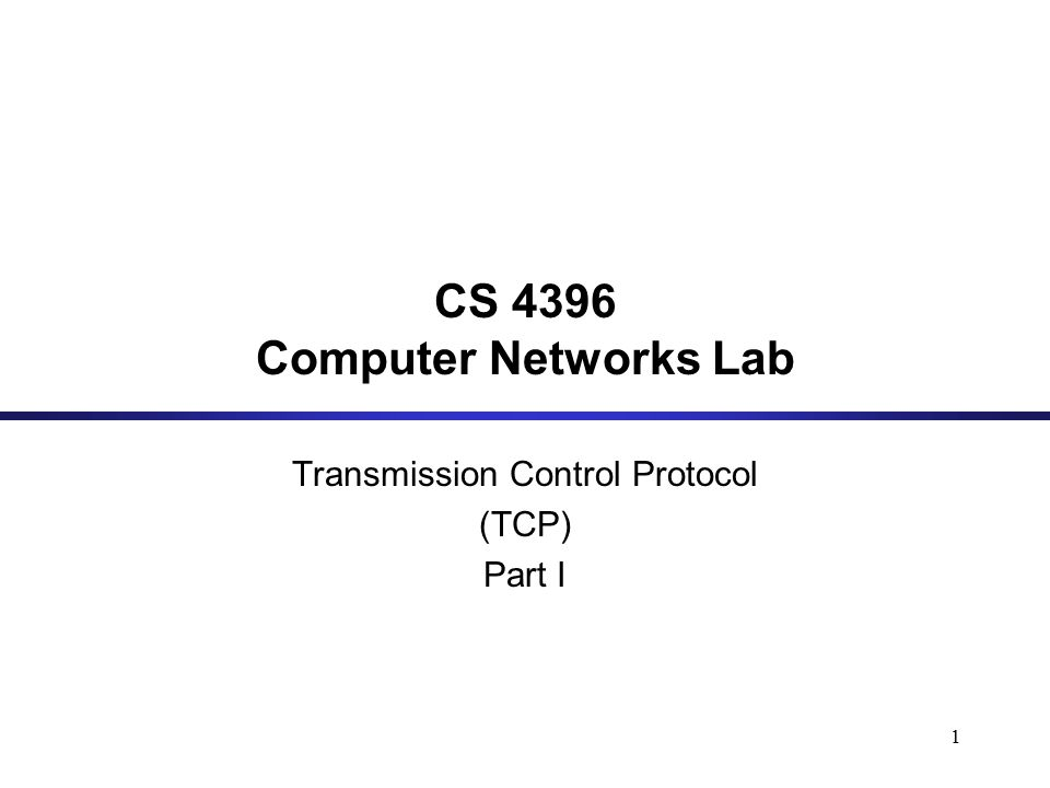 1 CS 4396 Computer Networks Lab Transmission Control Protocol (TCP) Part I