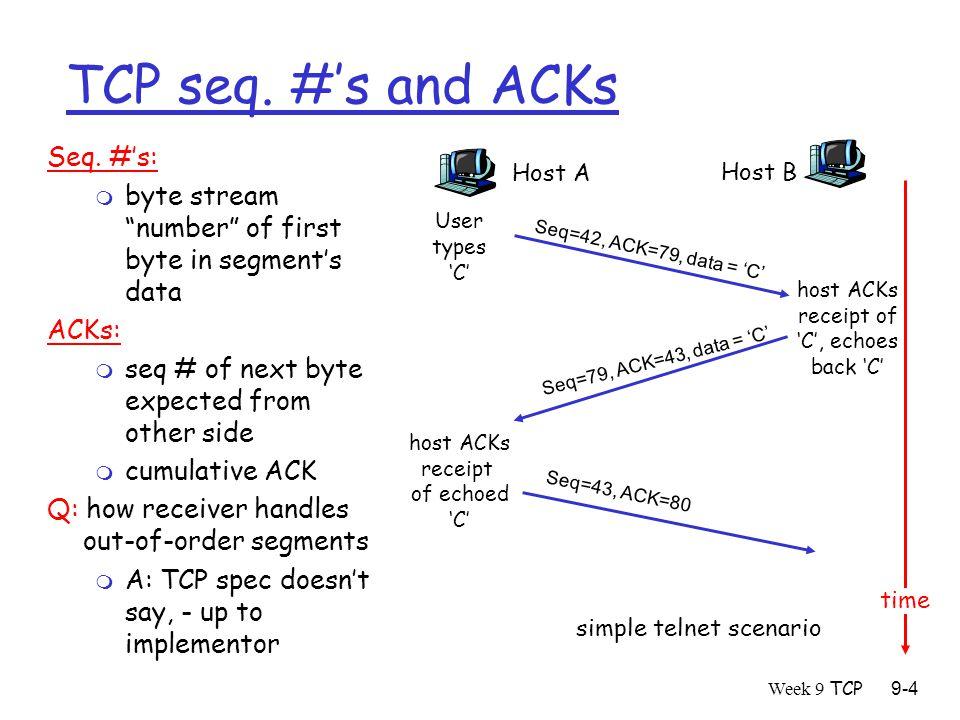 Week 9 TCP9-4 TCP seq. #'s and ACKs Seq.